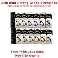 Combo 12 Hộp Viên Strong Hair Mọc Tóc Học Viện Quân Y 30 Viên
